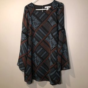 BCBGeneration muted abstract print dress large
